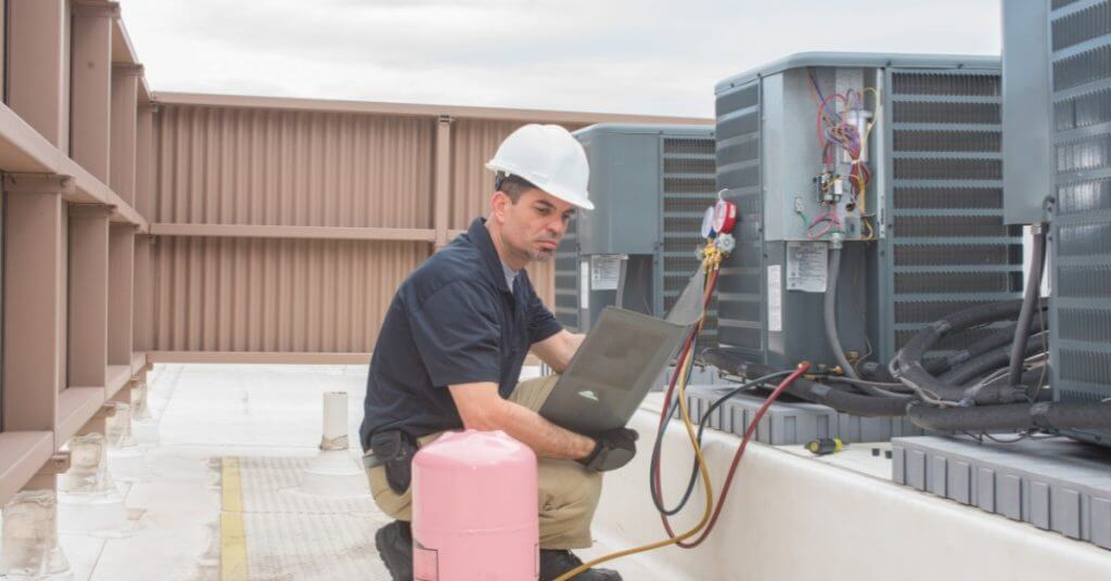 An HVAC professional providing a service